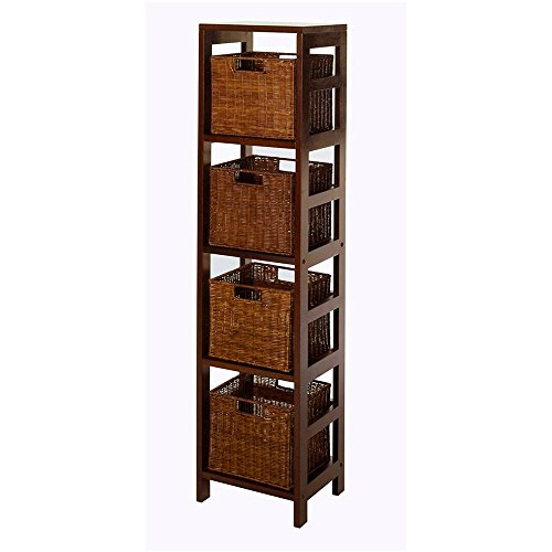 Slim Shelf Storage 4 Tier Free Standing Cabinet Modern Minimal Bookshelf with 4 Baskets Home Office Bedroom Living Room Bathroom Shelving Unit Organization Rack Contemporary Wood & eBook by BADAshop