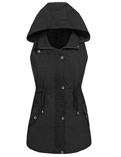 Sholdnut Womens Hooded Fleece Lined Drawstring Sleeveless Military Anorak Vest