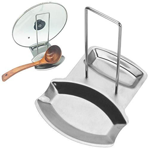 AOXIANG Stainless Steel Pan Pot Cover Lid Rack Stand Spoon Rest Stove Organizer Storage Soup Spoon Rests Kitchen Tool