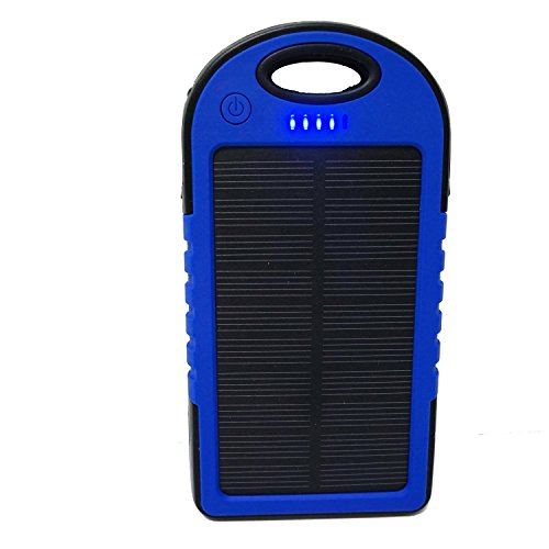 Audiobomb Solar Reflex Powered Dual Waterproof Portable Charger Charge Two Devices At Once, 5000mAh, Blue