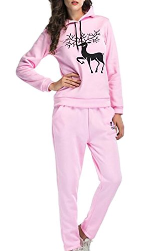 UUYUK Womens 2 Pieces Sweatsuits Tracksuit Hoodie Top And Sweatpants Set Pink US S