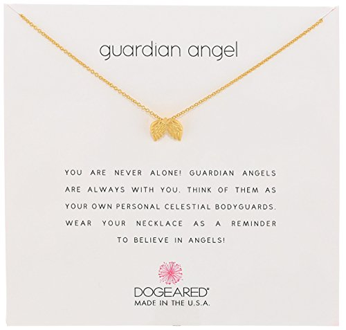 Dogeared Reminders Guardian Angel Gold Dipped Sterling Silver Angel Wings Charm Necklace, 16