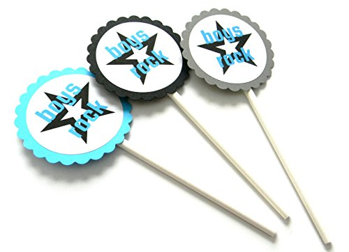 Boys Rock Cupcake Toppers - Set of 12