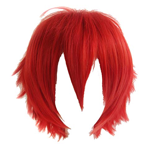 Alacos Synthetic Short Straight Red Fluffy Full Head Wig Men Women Spiky Hair Anime Cosplay Costume Party Wig