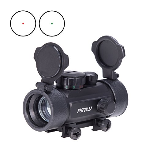 Pinty Reflex Red Green Dot Sight Scope with Flip Up Lens Cover Cap & 20mm Mount Obj. 30mm