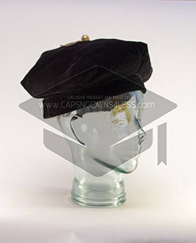 "Doctoral Tam Black velvet 6-sided w/Gold Bullion Tassel L-XL (23.6-25"")"