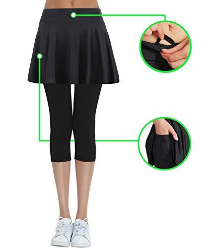 HonourSport Women's Skirted Capri Leggings, Athletic Printed Tennis Skorts(Black,L)
