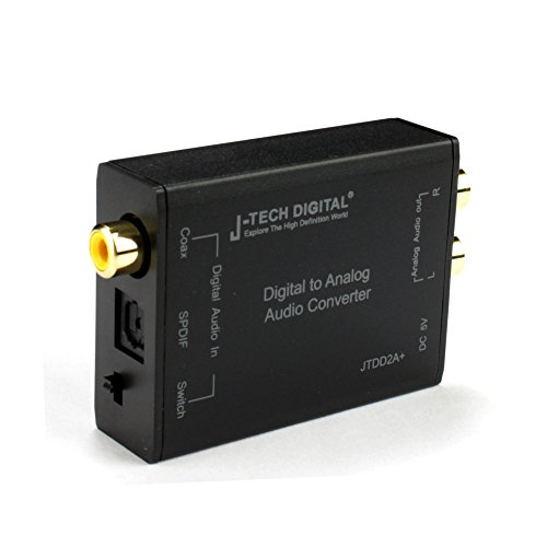 J-Tech Digital Digital to Analog Audio Converter Optical SPDIF/Coaxial Digital to RCA L/R Analog Audio 192kHz/24bit Optical and Coaxial DAC with Cirrus CS8416 Digital Receiver Chip