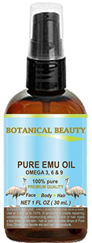 PURE EMU OIL. 100% Pure / PREMIUM QUALITY. for FACE, BODY, HANDS, FEET, NAILS & HAIR and LIP CARE. (1 Fl. oz. - 30 ml.)