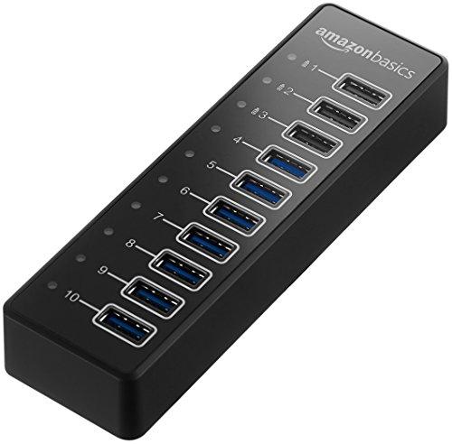 AmazonBasics USB-A 3.1 10-Port Hub with Power Adapter - 65W Powered (20V/3.25A), Black