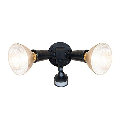 "All-Pro Small 7""Compact 7 inch Bronze Dual Head Motion Sensor Incandescent Light with Automatice LED Night light"