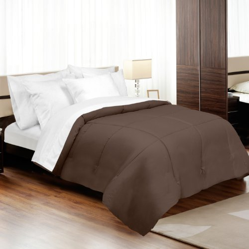 Veratex Luxury Soft Contemporary Style 800 Thread Count 100% Cotton Sateen Shell Down Alternative Bedroom Comforter, Full Size, Espresso