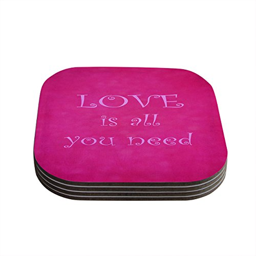 """Kess InHouse Iris Lehnhardt""""Love is All You Need"""" Quote Pink Coasters, 4 by 4-Inch, Pink, Set of 4"""