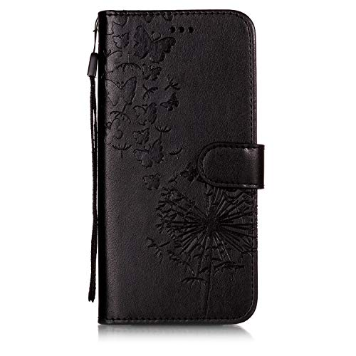 Shinyzone Protective Phone Case for Moto G6 Plus,Embossed Butterfly Dandelion Pattern Series,Magnetic Stand Cover with Card Slots Leather Wallet Flip Case-Black