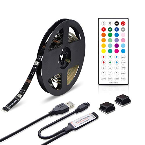 WENICE TV LED Backlight USB Strip kit 118in/3m Multi Color RGB with 44key Remote Control,Bias Lighting for HDTV,Flat Screen, Desktop fits All Monitor Size up to 70''(9.9ft)