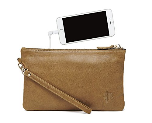 high school graduation gifts for niece - Mighty Purse Phone Charging Wristlet, Almond Brown