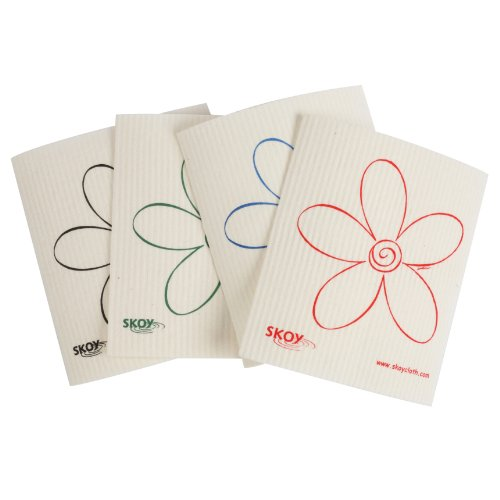 Skoy Cleaning Cloth, White, Set of 4