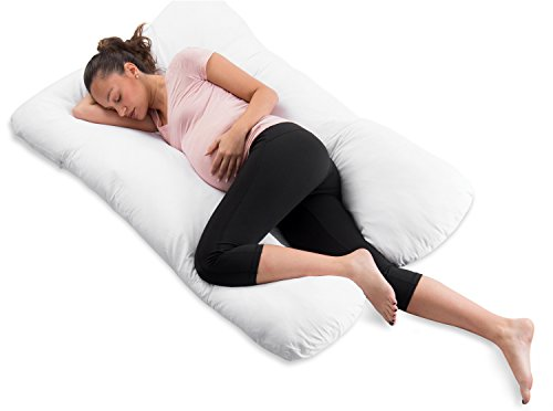 ComfySure Pregnancy Full Body Pillow-U Shaped Maternity and Nursing Cushion with Removable White Cover-Back, Neck Hip Support and Relief-Firm and Plush