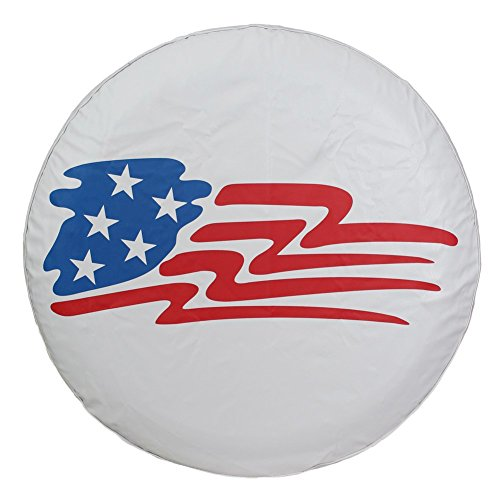 "Spare Tire Cover 17 inch American Flag Universal Wheel Tire Covers for RV Jeep Liberty Toyota RAV4 Honda CRV Camper Trailer, Waterproof, White (17"" for Diameter 31""-33"")"