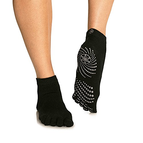 Gaiam Grippy Yoga Socks for Extra Grip in Standard or Hot Yoga, Barre, Pilates, Ballet or at Home for Added Balance and Stability, Grey, Small/Medium