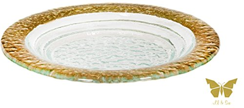 "Belleti Crystal and Gold Elegant Platter Collection Perfect for Parties Set of 3 - by Lil & Sue (9.6"" Round Platter)"
