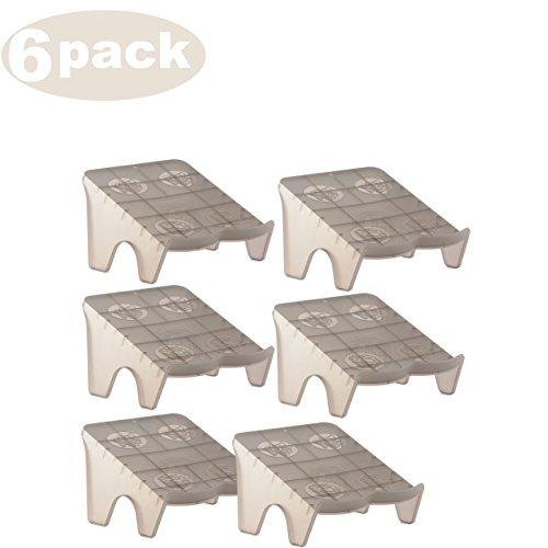 YBM HOME Ybmhome Plastic Double Layer Storage Free Standing 2 Pair Shoe Stand Rack Holder Stacker Shelf Closet Organizer Space Saver 2164-6 (6, Frosty Black)