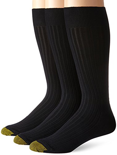 Gold Toe Men's Canterbury Extended Sock,3 Pack,Black, Sock Size 13-15/Shoe Size 12-16