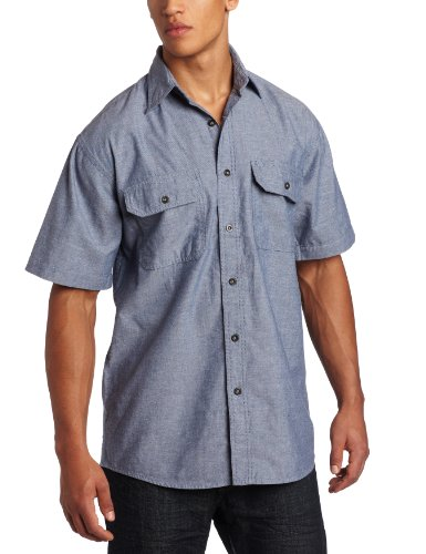 Key Apparel Men's Big-Tall Short Sleeve Button Down Wrinkle Resist Chambray Shirt, Blue Chambray, XX-Large-Tall
