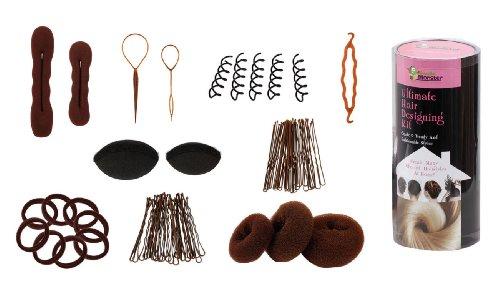 Bundle Monster 9in1 Fashion Hair Design Styling Tools Accessories Kit- Bun Maker, Roller, Braid Twist, Elastics, Pins for BRUNETTE Hair Color