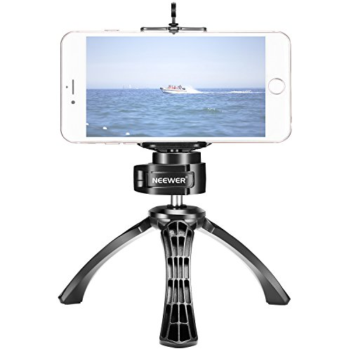 Neewer Desktop Mini Tripod with Phone Clamp and 360 Degree Rotatable Ball Head for DSLR Cameras, GoPro, iPhone, Samsung Android Smartphones