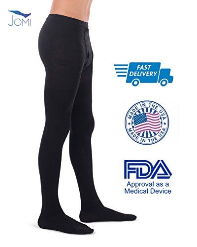 Jomi Compression Men Collection, Compression Leotard Men's Pantyhose, 20-30mmHg 260 (Large, Black)