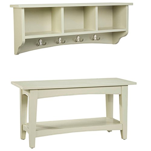 Alaterre Shaker Cottage Storage Coat Hook and Bench Set, Sand