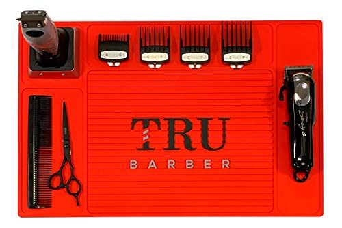 "TRU BARBER Organizer Mat 19"" X 13"" (RED) Flexible PVC Station Mat, Salon Barbershop work station pads, Beauty salon tools, Counter mat for clippers, anti slip"