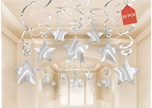 AimtoHome Party Swirl Decorations, Hanging Swirl for Ceiling Decorations, Silver with Star, Pack of 30
