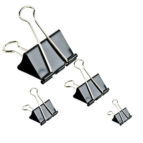 Binder Clips Paper Clamp For Paper-Clips Paper Bnder Assorted Sizes (Black) 50 PCS