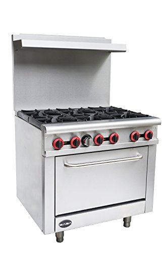 """Heavy Duty Commercial 36"""" Gas 6 Burner Range with Oven (211,000 BTU/hr Total Input)"""