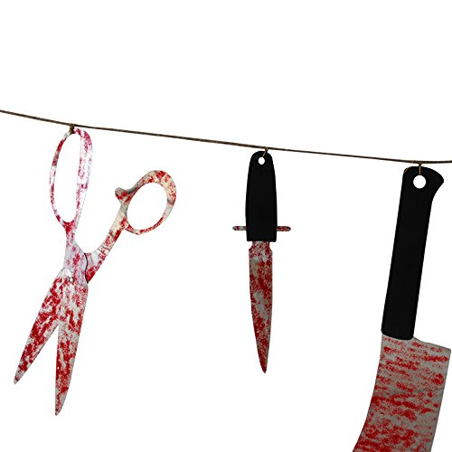 bluecookies Bloody Weapons Garland Props for Halloween Decorations, 2.4 m, 12 Piece