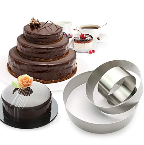 3 Tier Round Multilayer Anniversary Birthday Cake Baking Pans,Stainless Steel 3 Big Sizes Rings Round Molding Mousse Cake Rings(Round-shape,4 Inch 6Inch 7.8Inch,Set of 3)