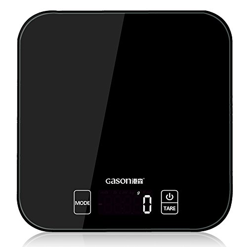 GASON C1 Kitchen Scales LCD Display Accurate Digital Toughened Glass Electronic Cooking Food Weighing Precision (15kgx1g) (Black)