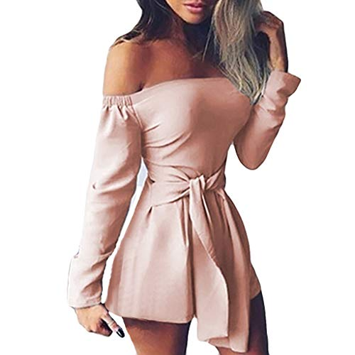 Alangbudu Women Long Sleeve Shorts Slim Fit Jumpsuit Off Shoulder High Belted Waist Bodycon Romper Back Zip Overalls Pink
