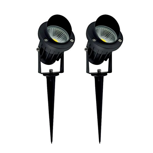 PRODELI Outdoor LED Landscape Spot Lights Garden Yard Patio Step Pond Pool Area Decoration Lighting Lamps in-Ground Lights 7W COB with Spiked Stand AC 85-265V Warm White (Pack of 2)