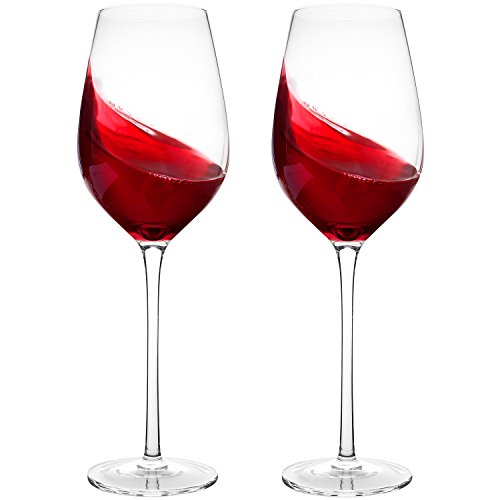Hand Blown Wine Glasses - Bella Vino Standard Red/White Wine Glass Made from 100% Lead Free Premium Glass, Perfect for Any Occasion, Great Gift, Set of 2, Clear …