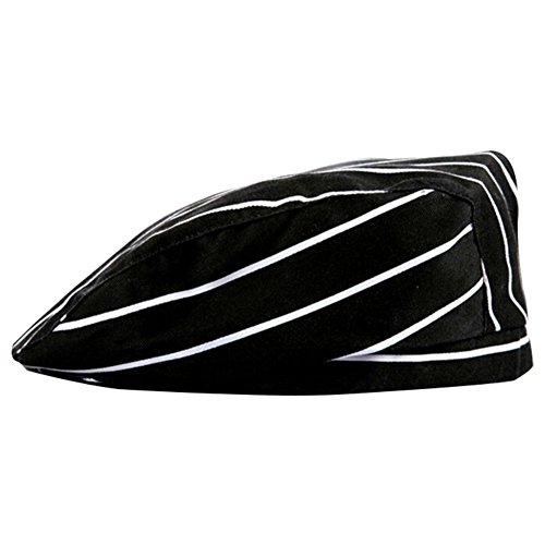 ACTLATI Professional Chef Hat Cotton Adults Cooking Peake Cap Cook's Caps Party Cosplay Kitchen Works Black and White Stripes