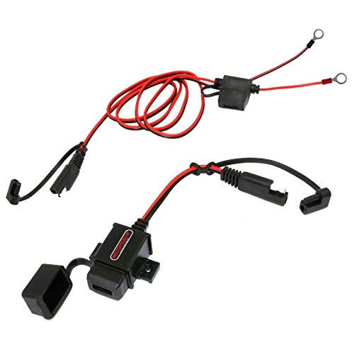 MOTOPOWER MP0609AA 3.1Amp Waterproof Motorcycle USB Charger Kit SAE to USB Adapter Cable W/SAE Cap Motorcycle Phone Tablet GPS Charger