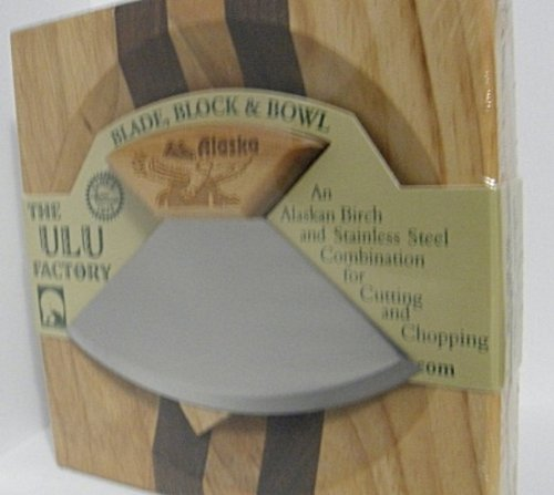 "6.5"" Block with Deep Dish Chopping Bowl and Ulu Knife with Eagle Etched Handle"