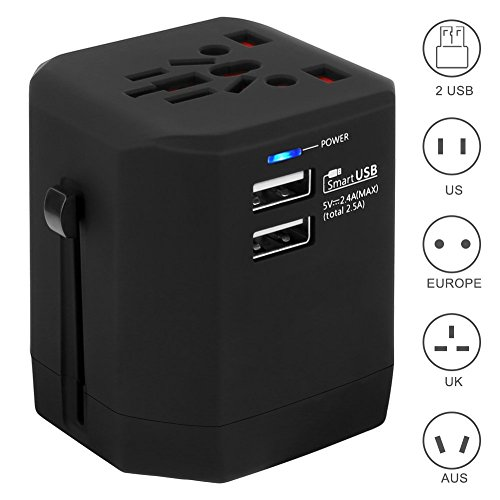 Universal Travel Adapter fit for Over 150 Countries All in one Worldwide Charger Wall Plug with Two USB Ports for US/AU/UK/EU Anti-Thunder