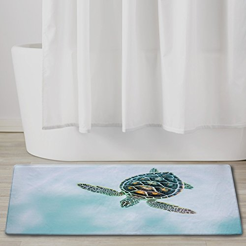 "QIYI Bath Rugs for Bathroom Non Slip Super Soft Absorbent Machine Washable Carpet Mats for Tub, Office Door Mat, Kitchen Dining Living Hallway 16"" x 48"" (40 x 120 cm) - Swimming Turtle"