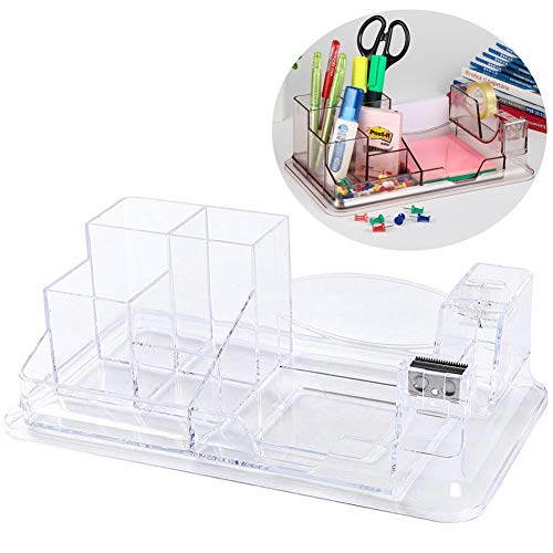 Clear Office Desk Organizer,Plastic Desk Supplies Holder,Desktop Organizer with 7 Compartments and 1 Office Tape Dispenser, Clear Plastic Office Supplies Caddy