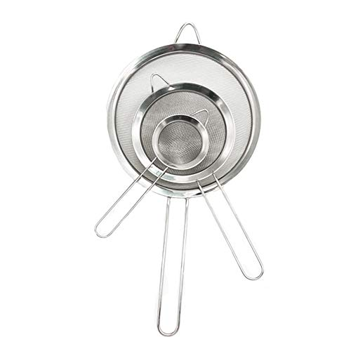 3PCS Stainless Steel Kitchen Fine Mesh Strainers with Handle 264671 inches for Juice Egg Tea Coffee Flour Filter and Rinse Vegetable Fruit