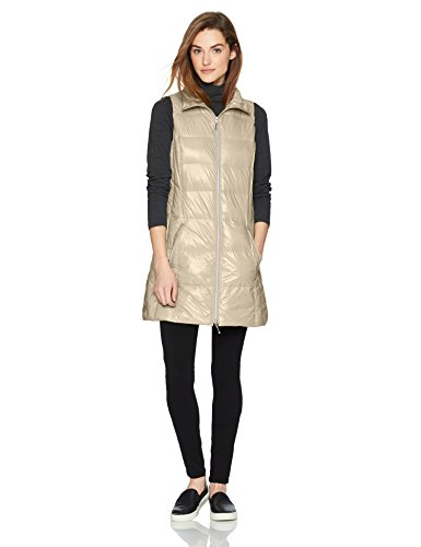 Coatology Women's Classic Long Down Vest, Pebble, XL